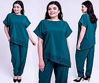✔️Модный женский костюм Синти летний большого размера 54-62 размера зеленый, фото 1