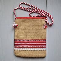 Женская сумка планшет из ткани с кружевом
