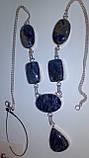 Красивое колье содалит ожерелье с содалитом в серебре Индия, фото 2