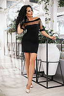 Платье-туника из вискозы, с кокеткой из евро-сетки, спадающее с плеча (42-52)
