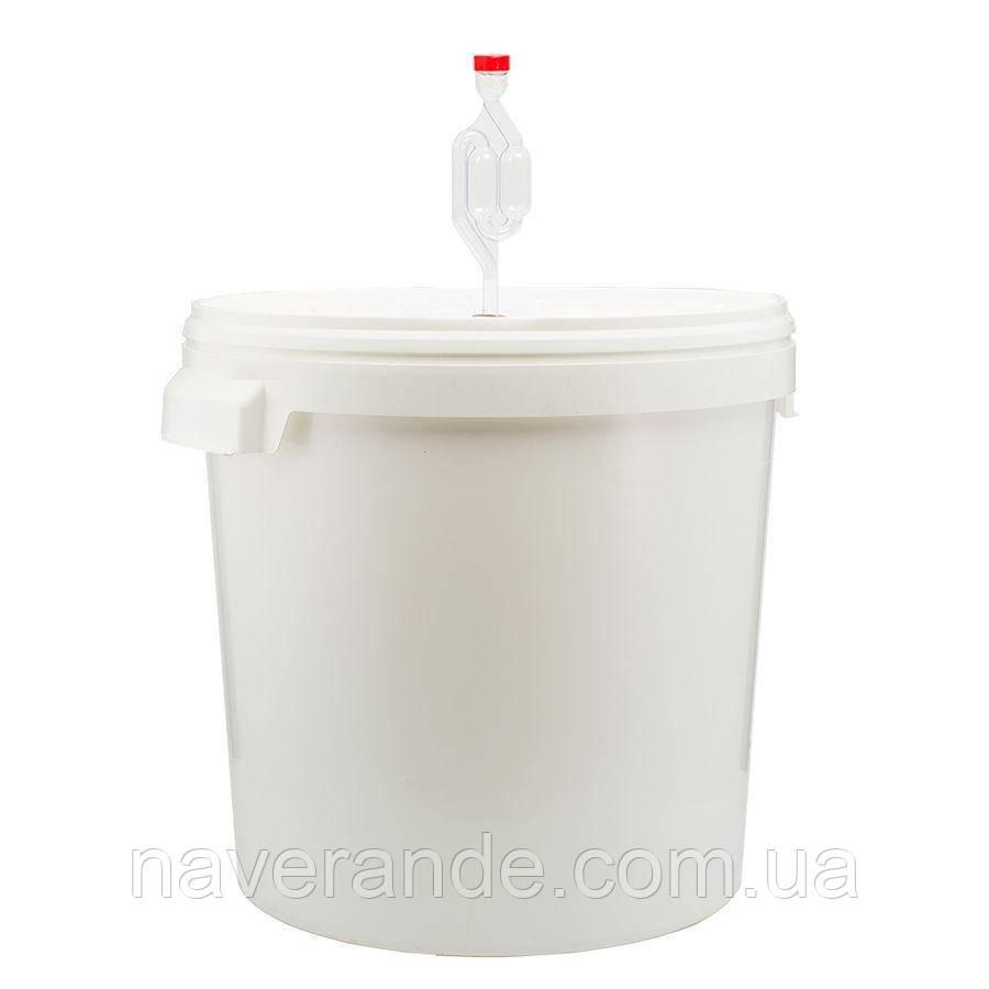 Емкость для брожения герметичная 33л с крышкой и гидрозатвором (Ферментер)