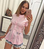 Рубашка женская стильная с украшением бабочки Bvv320, фото 1