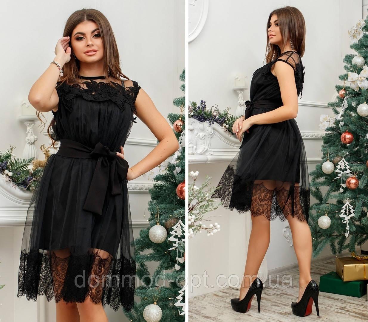 Женское стильное платье №7124 (р.42-46) черное