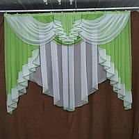 Готовая тюль с ламбрекеном ALBO 200x160 cm Зеленая (KU-178-9), фото 1