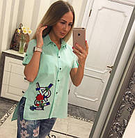 Рубашка женская модная с красивой нашивкой  Bvv321, фото 1
