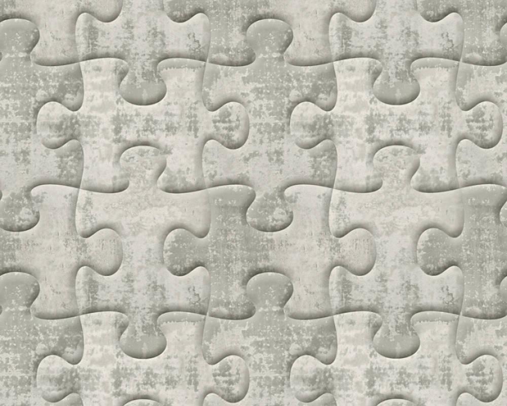 Стереоскопические дизайнерские обои 327034 креативные 3д пазлы светло серого цвета под бетон с иллюзией объема