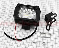 Фара дополнительная светодиодная влагозащитная - 10+9 LED с креплением, прямоугольная 76*99мм, SUPER LIGHT