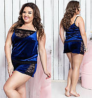 Женская пижама с шортами и кружевом №7139Б (р.50-60) синяя