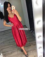 Длинное платье на бретелях с плиссированной юбкой , фото 1