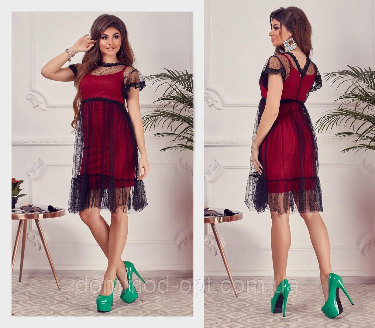 Женское стильное платье №7136 (р.42-46) красное