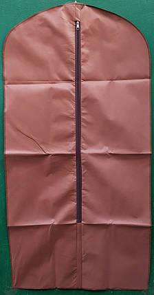 Чехол для хранения и упаковки одежды на молнии флизелиновый коричневого цвета. Размер 60 см*140 см., фото 2