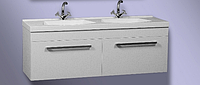 Двойная тумба для ванной комнаты с белым умывальником