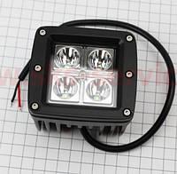 Фара дополнительная светодиодная влагозащитная - 4 LED с креплением, прямоугольная 82*76мм, фото 1