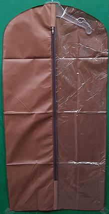 Чохол для зберігання і упаковки одягу на блискавці флізеліновий коричневого кольору. Розмір 60 см*160 див., фото 2