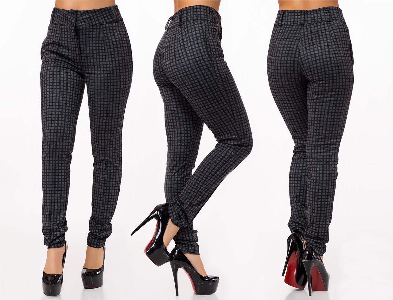 """Стильные женские брюки 482 """"Анжелика Клетка Классика"""""""