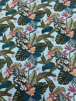 Ткань Штапель голубой с листьями, фото 1