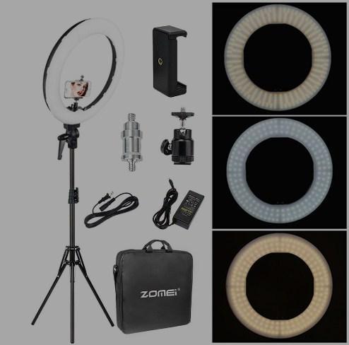 Кольцевая светодиодная лампа для фото или макияжа RL-18(2) с регулятором теплоты