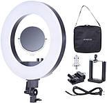 Кольцевая светодиодная лампа для фото или макияжа RL-18(2) с регулятором теплоты, фото 2