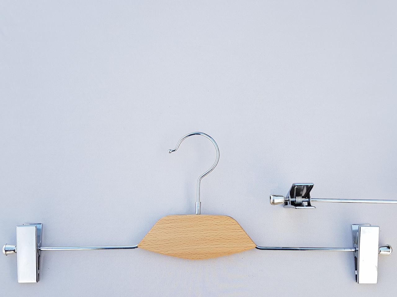 Длина 40 см. Плечики вешалки тремпеля металлический со вставкой из светлого дерева, для брюк и юбок