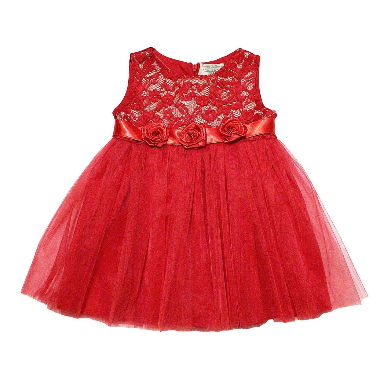 Дизайнерское платье Andriana Kids красное с фатином (80-86 размер)
