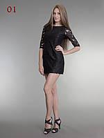 Короткое черное платье гипюр