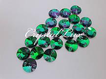 Стразы пришивные Lux Круги 14мм. Emerald