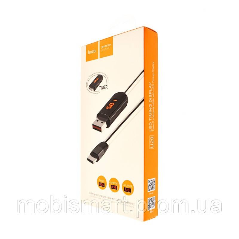 Кабель USB-m Hoco U29 LED Timer Micro (1000mm) white