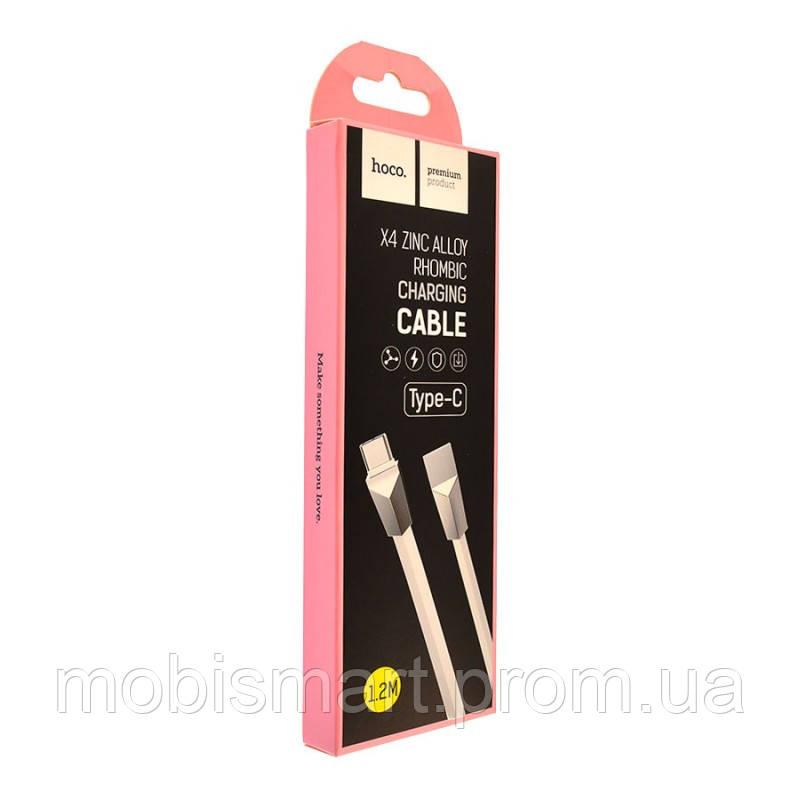 Кабель USB-C Hoco X4 Zinc Alloy Type-C (1000mm) white