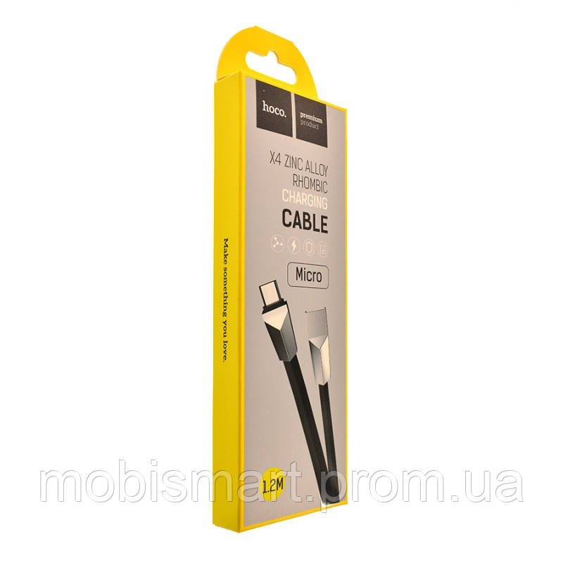 Кабель USB-m Hoco X4 Zinc Alloy Micro (1200mm) black