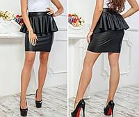 Женская стильная юбка из эко-кожи №018 (р.40-48) черная, фото 1