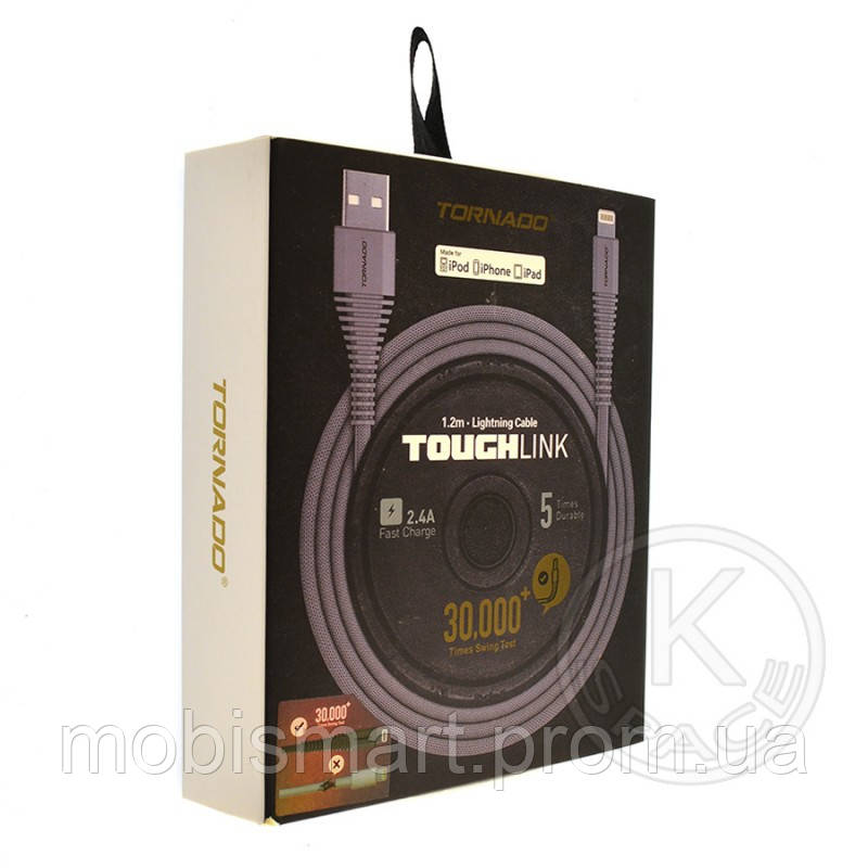 Кабель USB Tornado Touch Link Lightning 1.2m gray