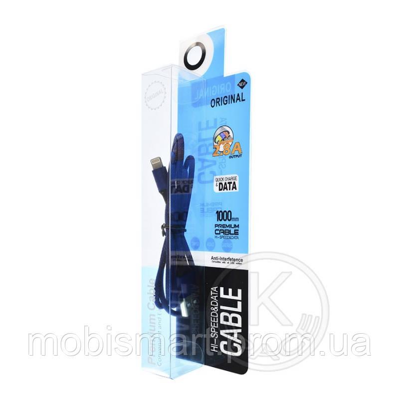 Кабель USB-L Metal Premium Lightning (в тканевой оплетке) dark blue