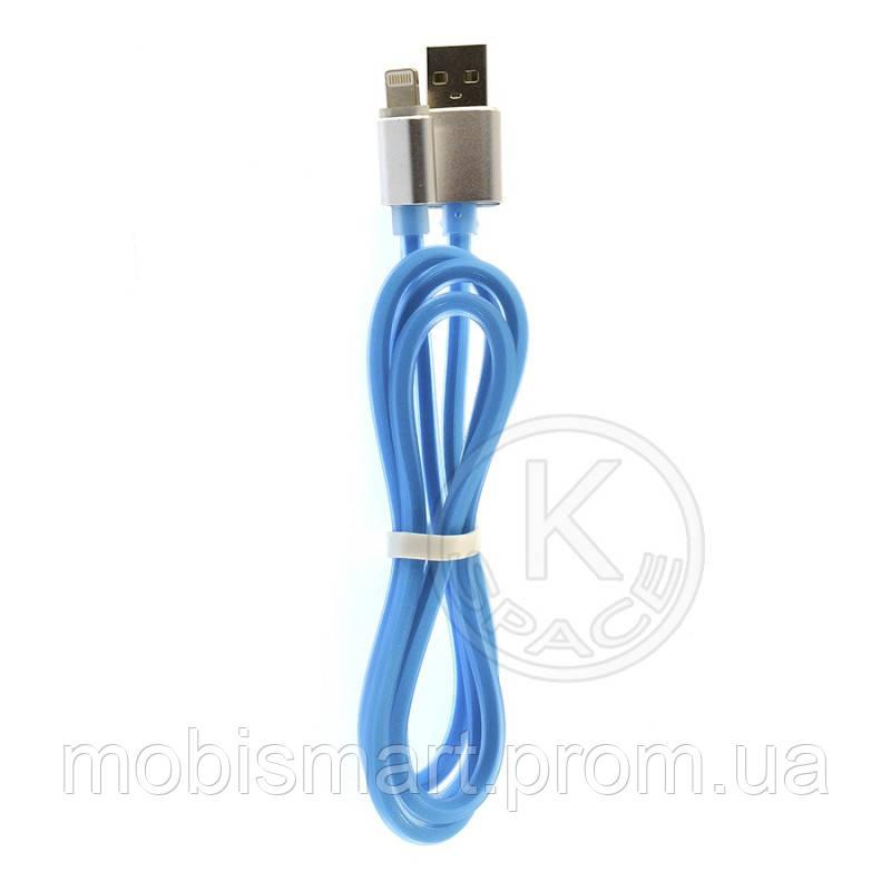 Кабель USB-L Lightning (силиконовый) metal blue