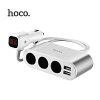 АЗУ Hoco Z13 (3ports+ 2USB,2.1A+LCD) silver