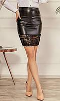 Женская стильная юбка из эко-кожи №008 (р.42-46) черная, фото 1