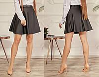 Женская стильная юбка из эко-кожи №016 (р.40-48) черная, фото 1