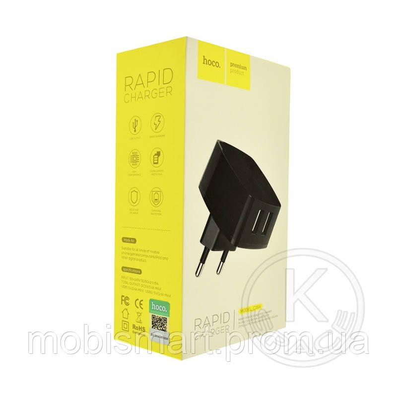 СЗУ 2USB Hoco Rapid C26A (5V-2.4 mAh) black