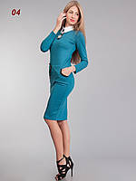 Платье офисное трикотажное бирюза, фото 1