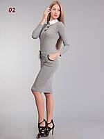 Платье офисное шерсть св.серое, фото 1