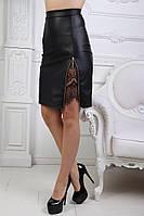 Женская стильная юбка из эко-кожи №011 (р.42-56) черная, фото 1
