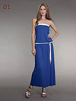 Платье синее в пол с белым поясом, фото 1