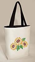 """Женская сумка """"Подсолнухи"""" Б336 - белая с черными ручками"""