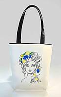 """Женская сумка """"Квіти у волоссі"""" Б337 - белая с черными ручками"""