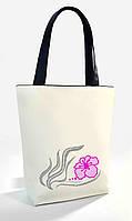 """Женская сумка """"Лилия """" Б338 - белая с черными ручками"""