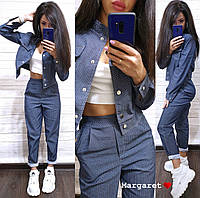 Костюм женский стильный джинс бомбер на кнопках и свободные штаны с карманами в горошек Dmk1432, фото 1