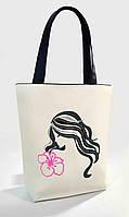 """Женская сумка """" Девушка с лилией """" Б353 - белая с черными ручками"""