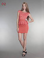 Платье короткое баска теракот, фото 1