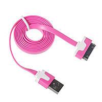 USB кабель плоский для Apple iPhone 4/4S Розовый