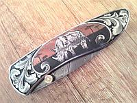 """Авторский складной нож """"Safari""""из титана и дамасской стали"""