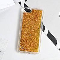 Чехол Glitter для Iphone 6 Plus / 6s Plus Бампер Жидкий блеск золотой